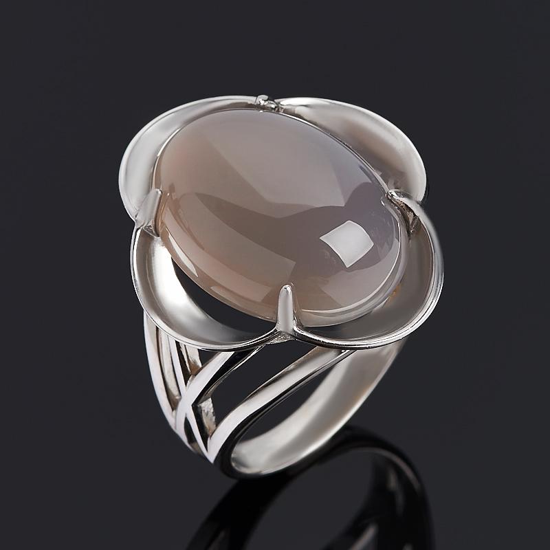 Кольцо агат серый (серебро 925 пр. родир. бел.) размер 17