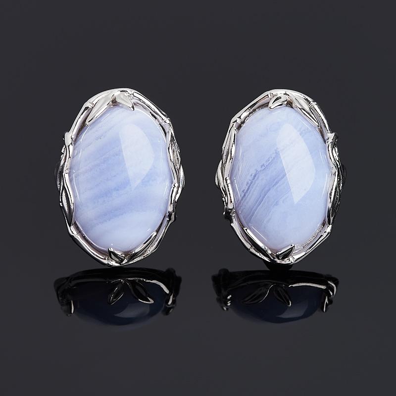 Серьги агат голубой (серебро 925 пр. родир. бел.)