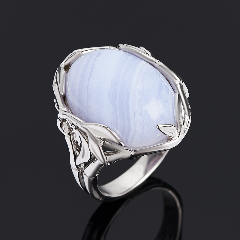 Кольцо агат голубой (серебро 925 пр. родир. бел.) размер 17