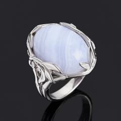 Кольцо агат голубой Намибия (серебро 925 пр. родир. бел.) размер 18