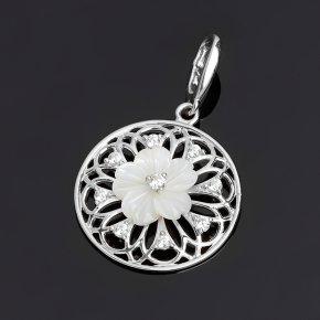 Кулон перламутр белый Индонезия (серебро 925 пр.)