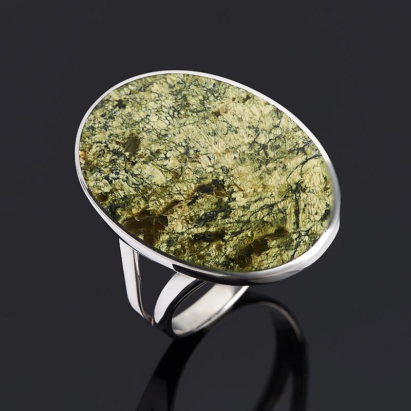 Кольцо змеевик (серебро 925 пр. родир. бел.) размер 19