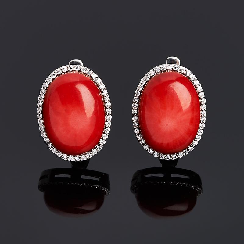 Серьги коралл красный (серебро 925 пр. родир. бел.)