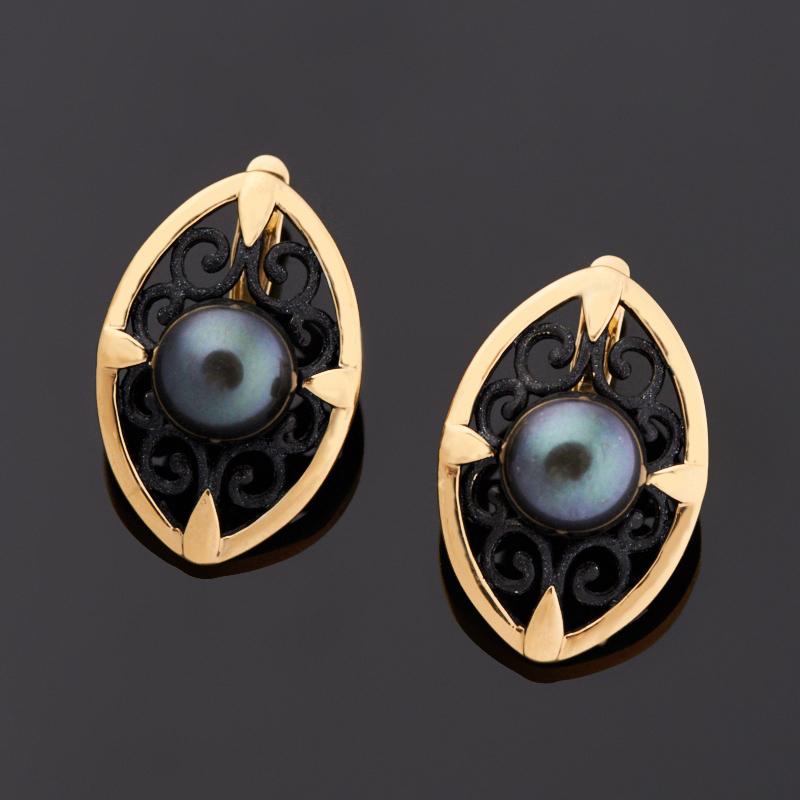 Серьги жемчуг черный (серебро 925 пр. позолота, эмаль)
