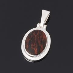 Кулон обсидиан коричневый Армения (серебро 925 пр. родир. бел.) овал