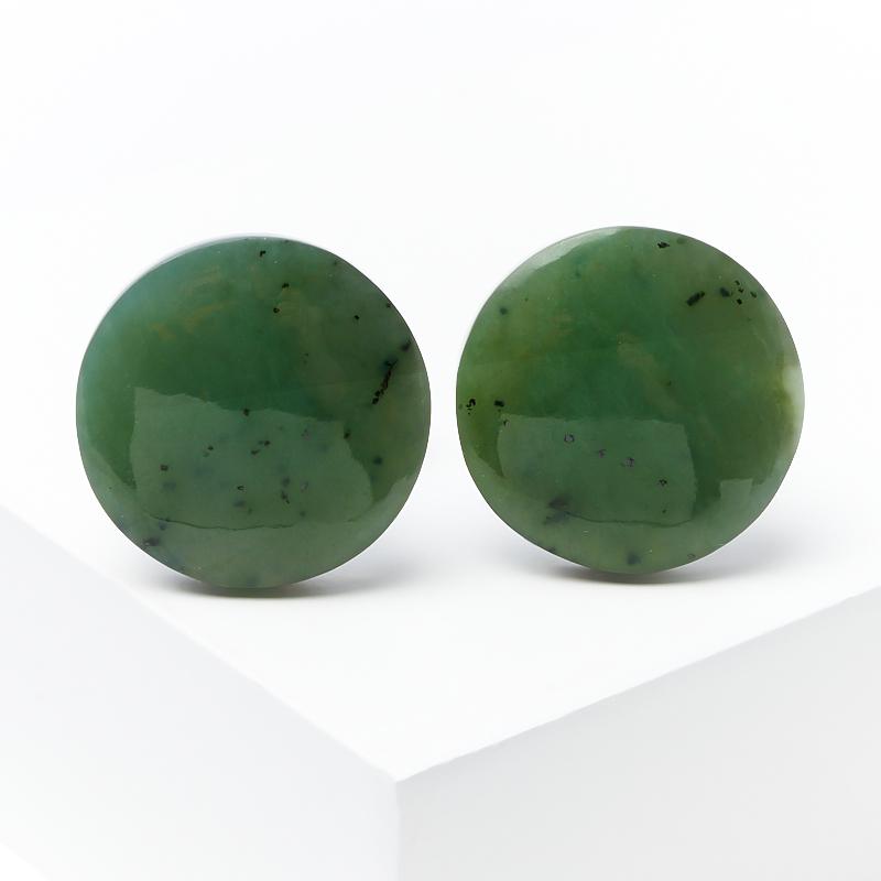 Запонки нефрит зеленый (биж. сплав)