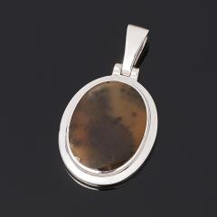 Кулон агат пейзажный Казахстан (серебро 925 пр. родир. бел.) овал