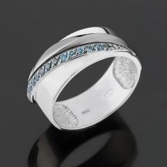 Кольцо топаз лондон Бразилия (серебро 925 пр. родир. бел., родир. черн.) огранка размер 18