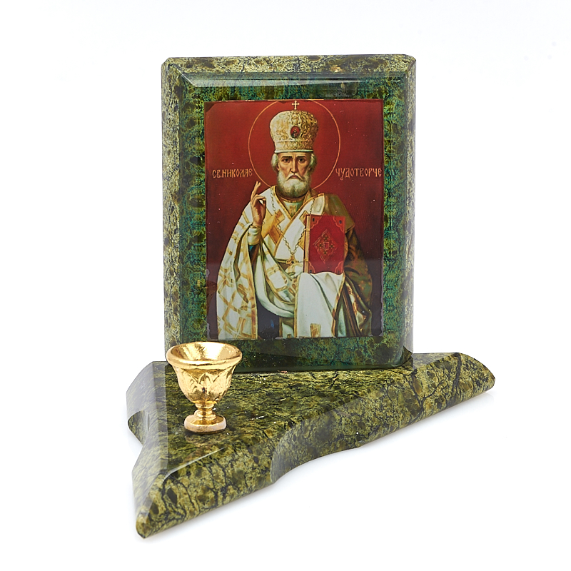 Подсвечник с изображением Николай Чудотворец змеевик 13х9х1,5 см