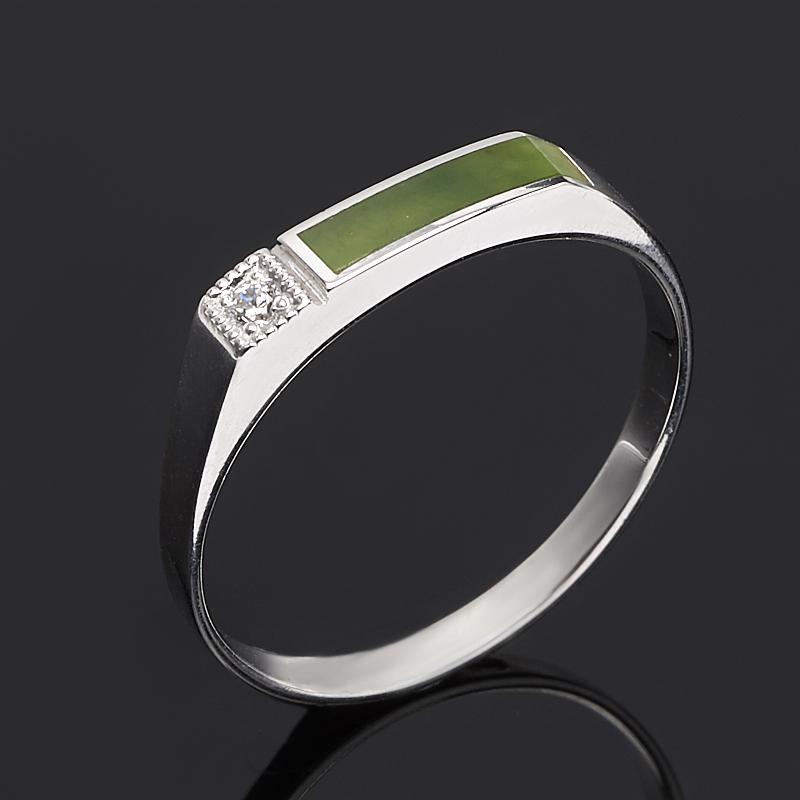 Кольцо нефрит зеленый (серебро 925 пр. родир. бел.) размер 20,5