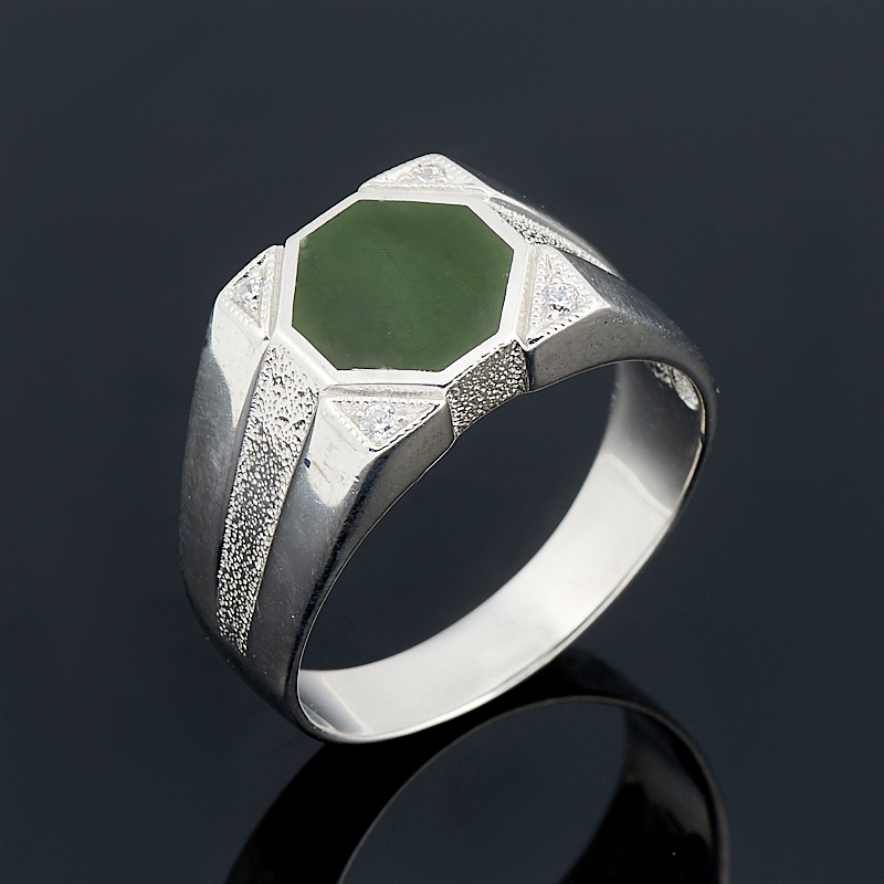 Кольцо нефрит зеленый (серебро 925 пр. родир. бел.) размер 22