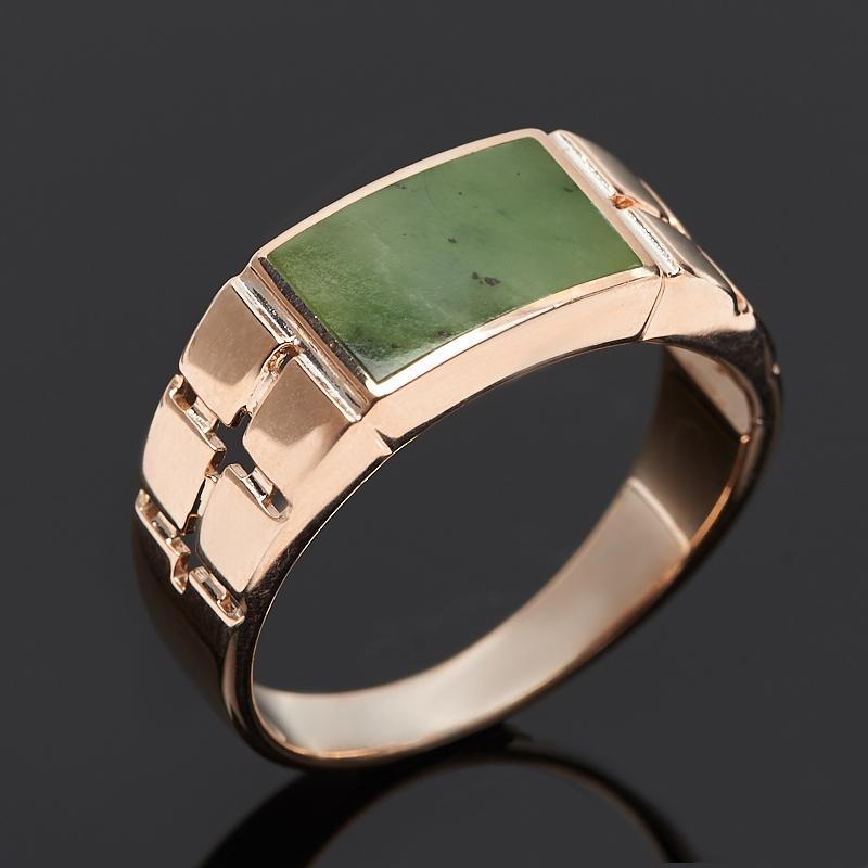 Кольцо нефрит зеленый (серебро 925 пр. позолота) размер 20,5