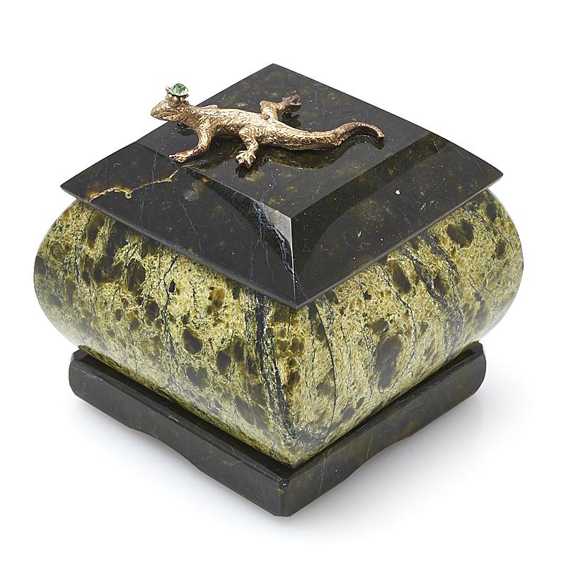 Шкатулка змеевик 6х5,5х5,5 см