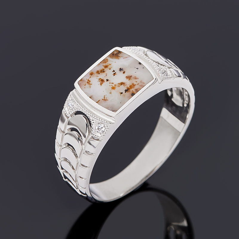 Кольцо агат пейзажный (серебро 925 пр. родир. бел.) размер 20,5