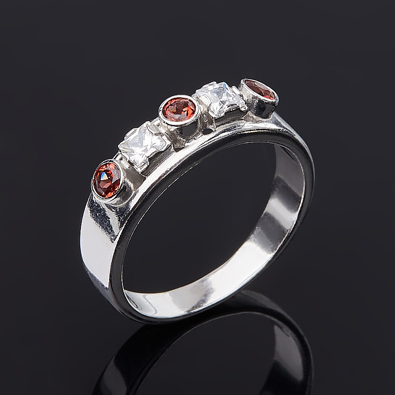 Кольцо гранат альмандин (серебро 925 пр. родир. бел.) огранка размер 18,5