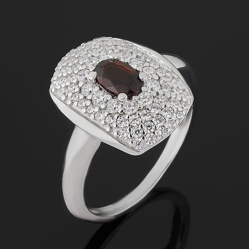Кольцо гранат альмандин (серебро 925 пр. родир. бел.) огранка размер 18,5 фото