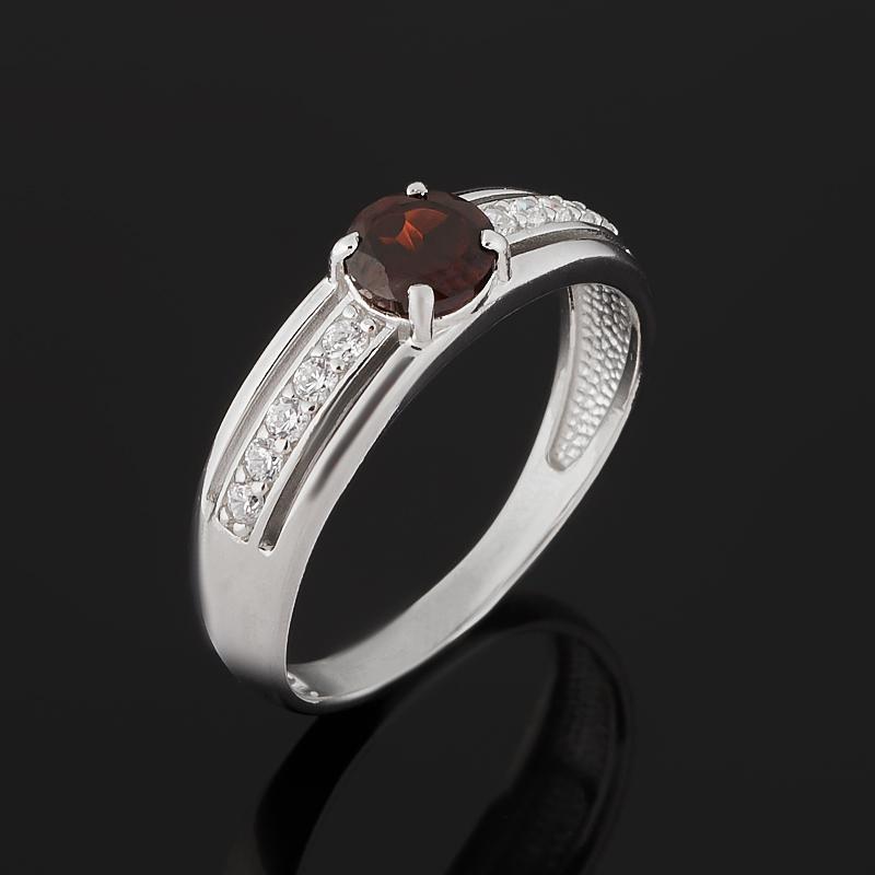 Кольцо гранат альмандин (серебро 925 пр. родир. бел.) огранка размер 17