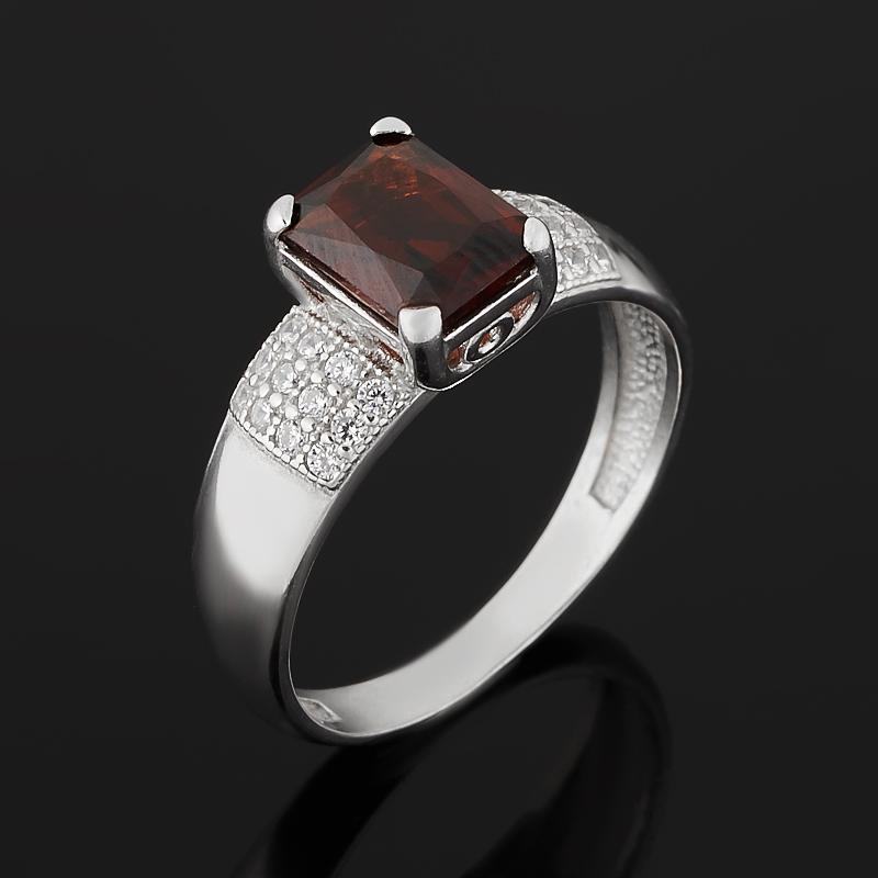 Кольцо гранат альмандин (серебро 925 пр. родир. бел.) огранка размер 18