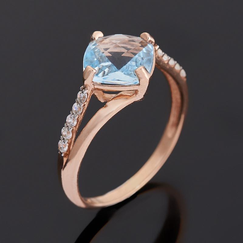 Кольцо топаз голубой (серебро 925 пр. позолота) огранка размер 18,5
