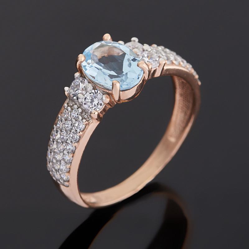Кольцо топаз голубой (серебро 925 пр. позолота) огранка размер 17,5