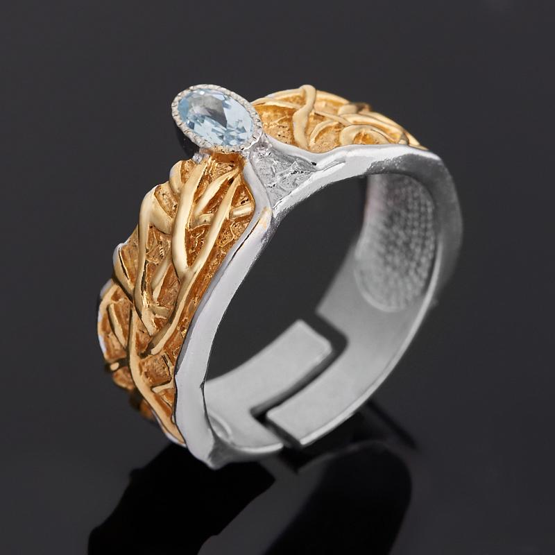 Кольцо топаз голубой (серебро 925 пр. позолота, родир. бел.) огранка размер регулируемый
