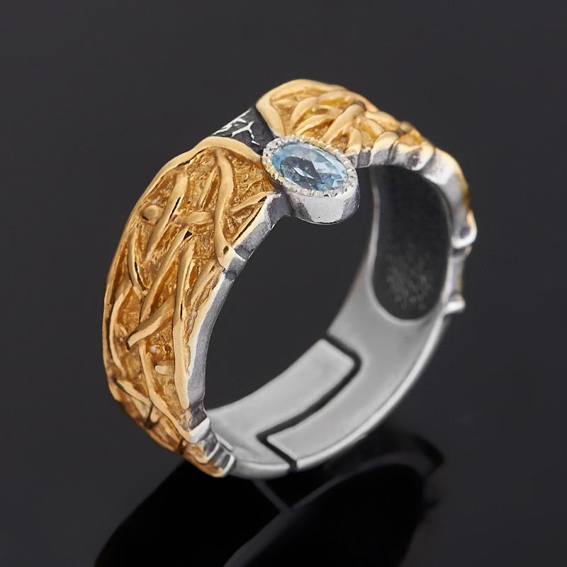 Кольцо топаз голубой (серебро 925 пр. позолота, родир. черн.) огранка (регулируемый) размер 18