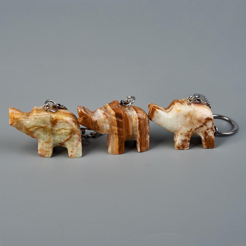 Брелок оникс мраморный Пакистан (биж. сплав) 3,5-4 см