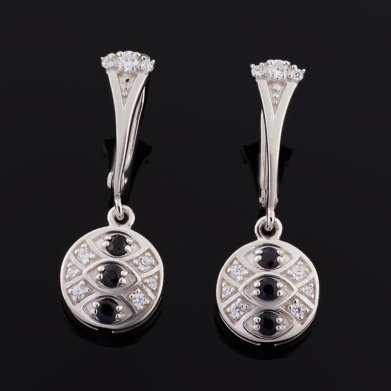 Серьги сапфир (серебро 925 пр. родир. бел.) огранка