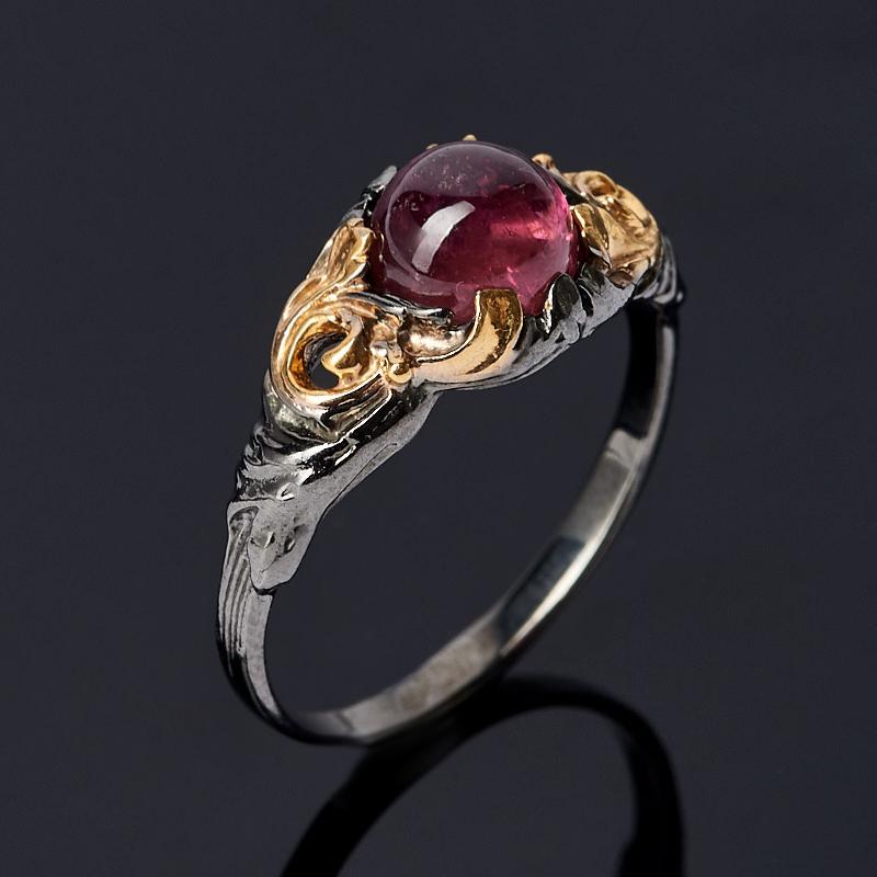 Кольцо турмалин розовый (рубеллит) (серебро 925 пр. позолота, родир. черн.) размер 18 кольцо турмалин зеленый серебро 925 пр размер 18
