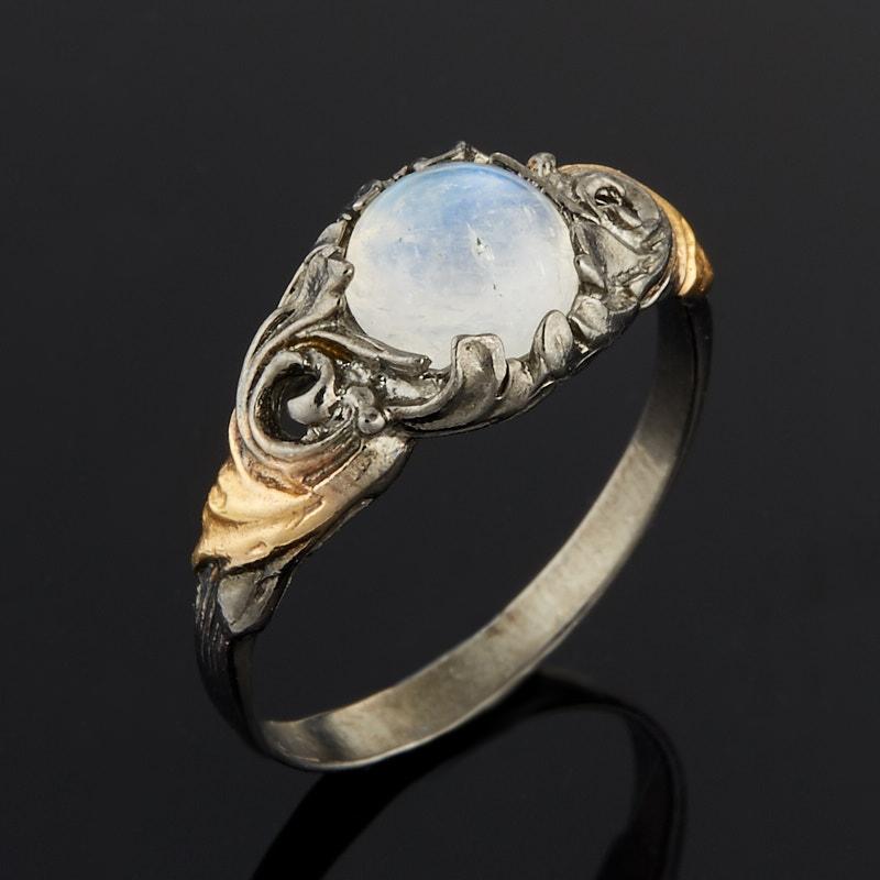 Кольцо лунный камень Индия (серебро 925 пр. оксидир., позолота) размер 18