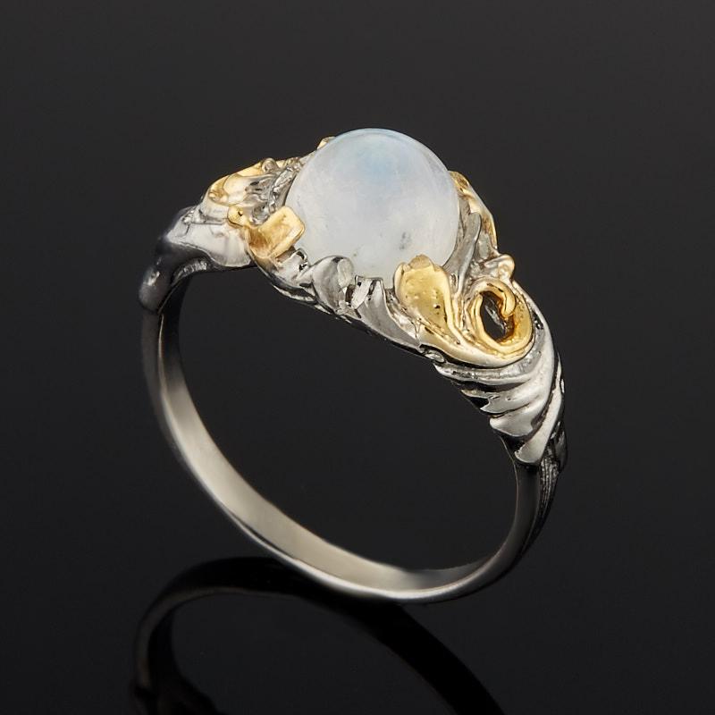 Кольцо лунный камень Индия (серебро 925 пр. родир. сер., позолота) размер 16,5