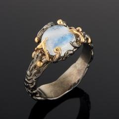 Кольцо лунный камень Индия (серебро 925 пр. позолота, родир. черн.) размер 18,5