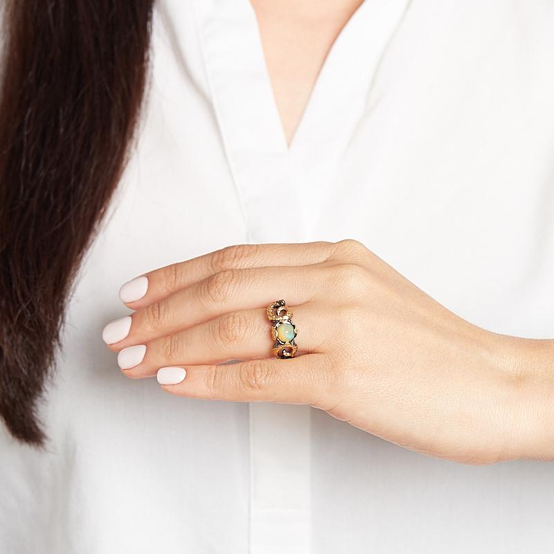 Кольцо опал благородный Эфиопия (серебро 925 пр. позолота, родир. черн.) размер 18