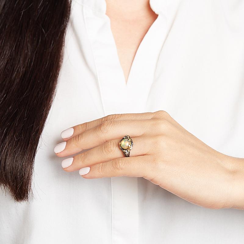 Кольцо опал благородный Эфиопия (серебро 925 пр. позолота, родир. черн.) размер 17,5