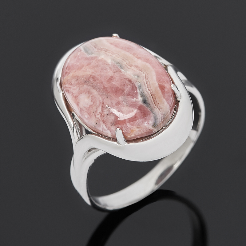 Кольцо родохрозит (серебро 925 пр. родир. бел.) размер 18