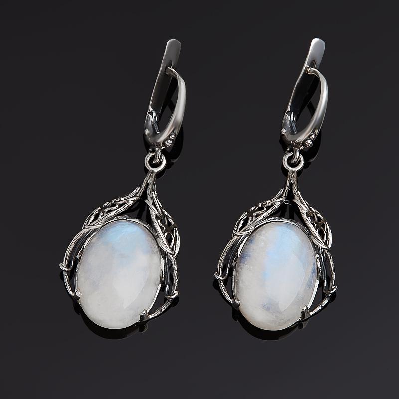 Серьги лунный камень (серебро 925 пр. оксидир.)