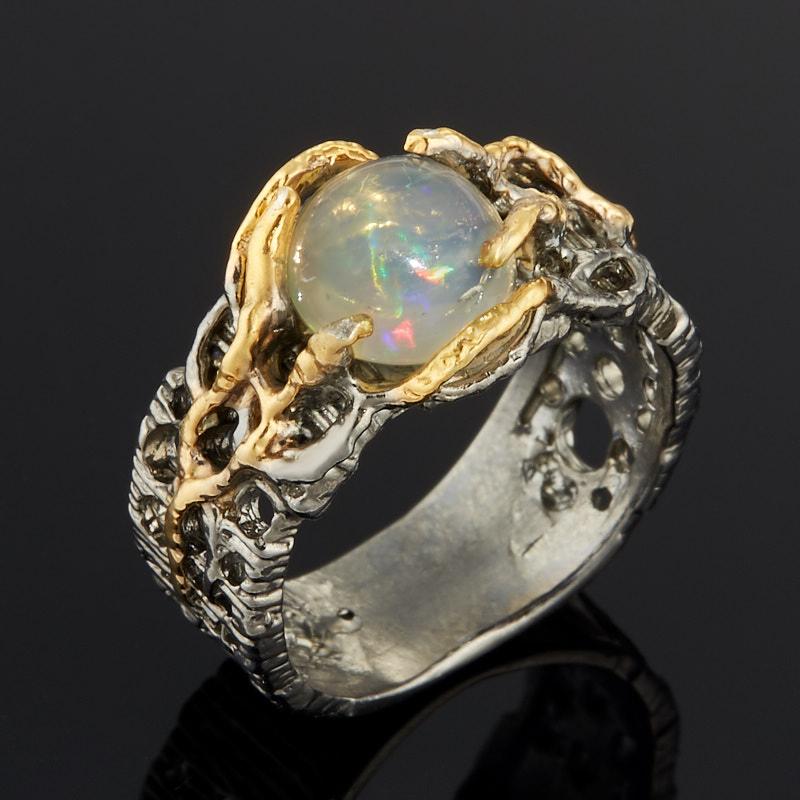 Кольцо опал благородный белый (серебро 925 пр. позолота, родир. черн.) размер 17