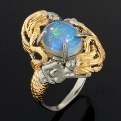 Кольцо опал благородный белый Эфиопия (серебро 925 пр. позолота, родир. сер.) размер 18