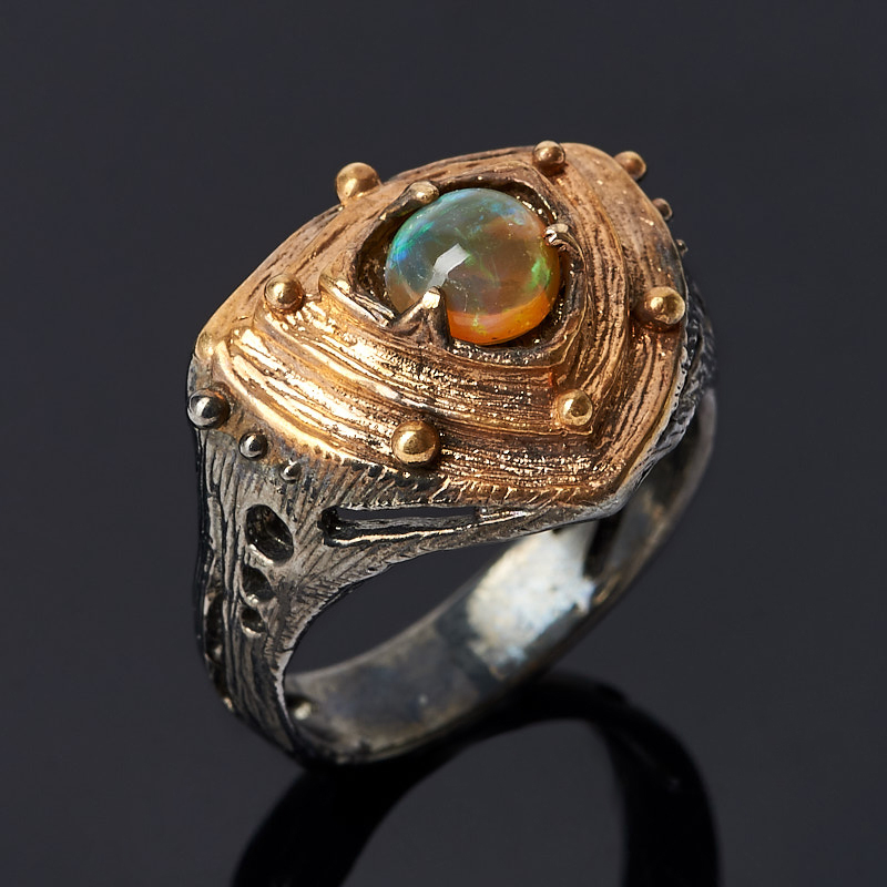 Кольцо опал (серебро 925 пр. позолота, родир. черн.) размер 17,5
