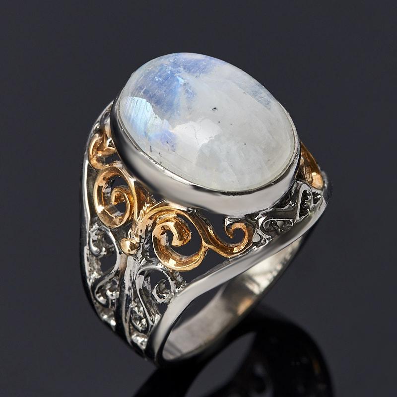Кольцо лунный камень (серебро 925 пр. позолота, родир. бел.) размер 18,5