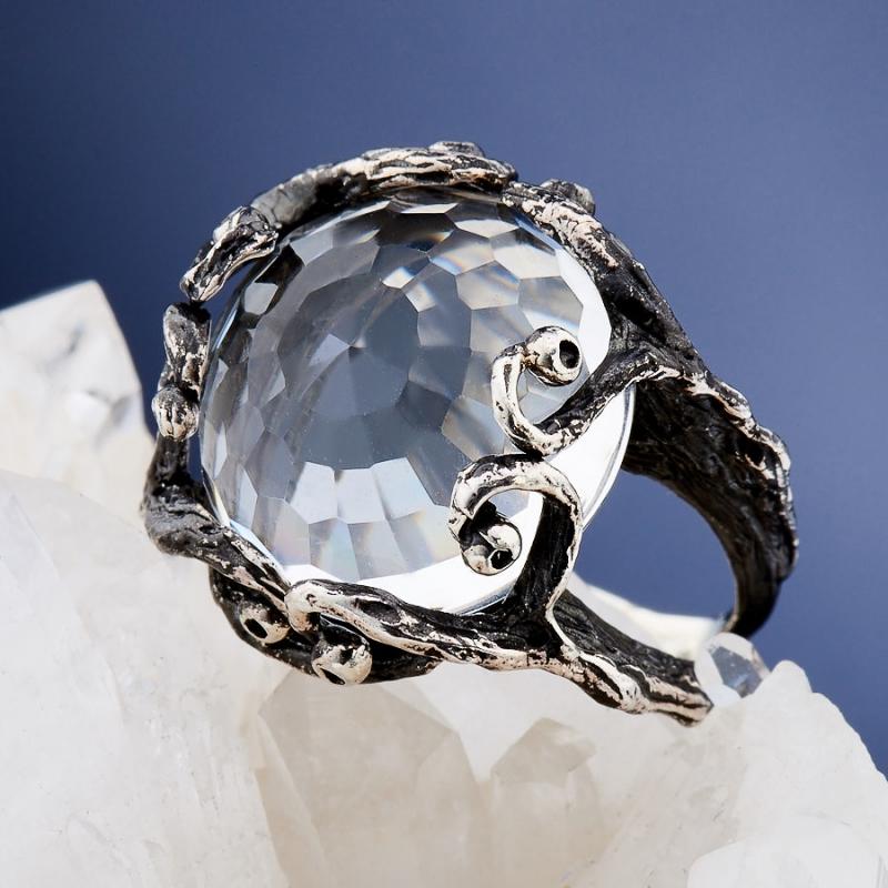 Кольцо горный хрусталь (серебро 925 пр. родир. черн.) огранка размер 17