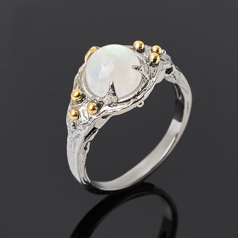 Кольцо лунный камень (адуляр) (серебро 925 пр. родир. сер. позолота) размер 18,5