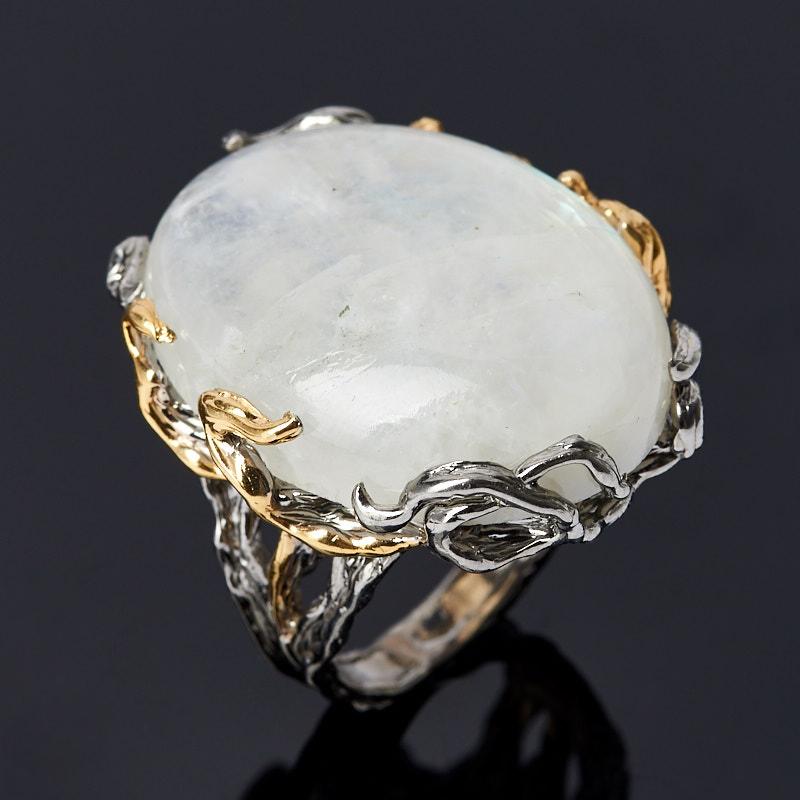 Кольцо лунный камень Индия (серебро 925 пр. позолота, родир. сер.) размер 17,5