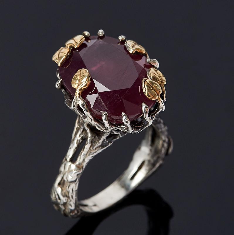 Кольцо корунд рубиновый (серебро 925 пр. оксидир., позолота) огранка размер 18,5