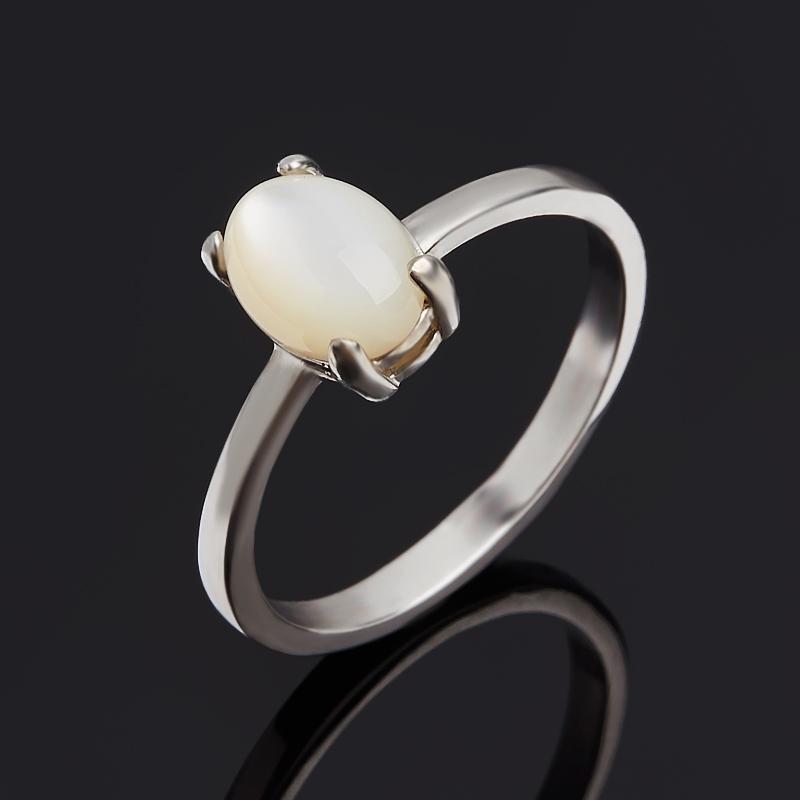 Кольцо перламутр белый (серебро 925 пр. родир. бел.) размер 18