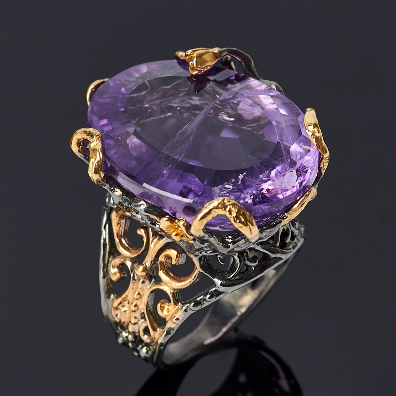 Кольцо аметист (серебро 925 пр. позолота, родир. черн.) огранка размер 16,5
