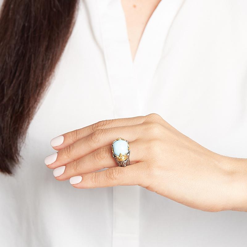 Кольцо бирюза Казахстан (серебро 925 пр. позолота, родир. сер.) размер 18,5