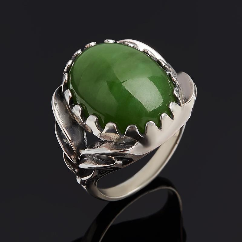 Кольцо нефрит зеленый Россия (серебро 925 пр. оксидир.) размер 17,5