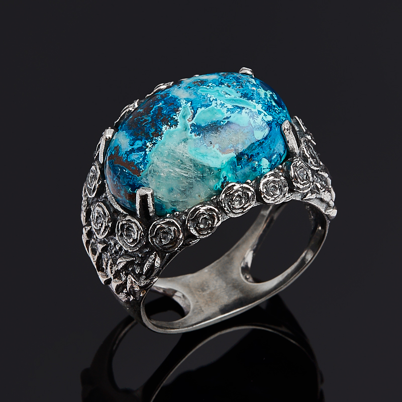 Кольцо хризоколла (серебро 925 пр. оксидир.) размер 18 кольцо хризоколла серебро 925 пр размер 19