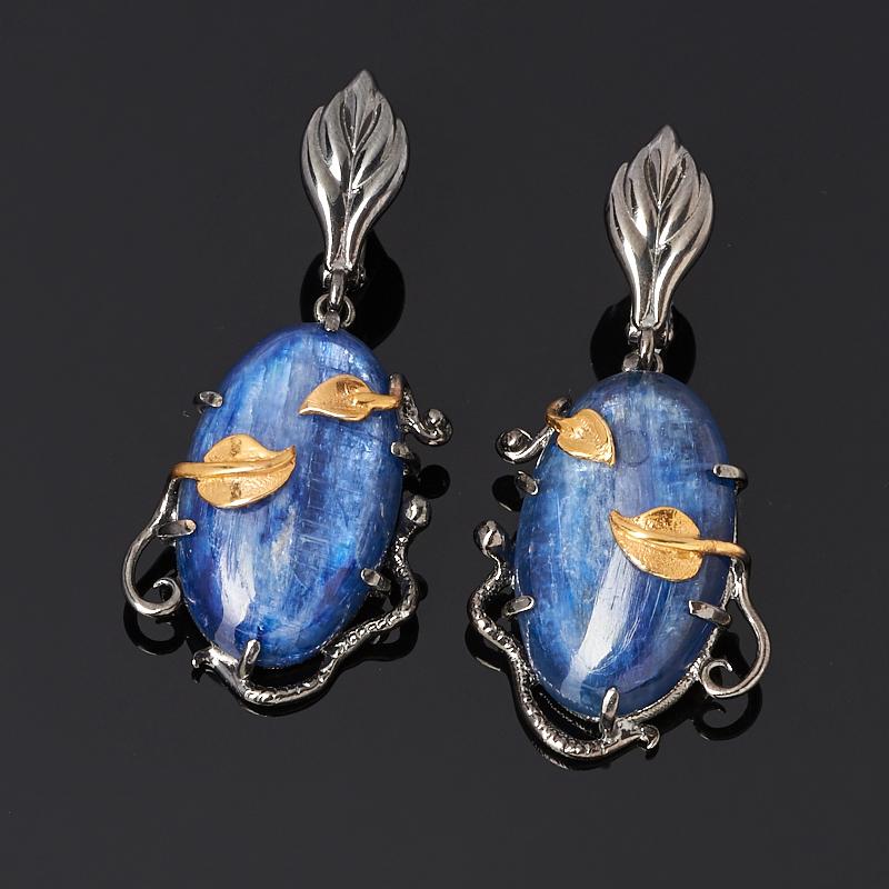 Серьги кианит синий (серебро 925 пр. позолота, родир. черн.) фото
